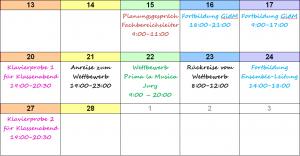 Monatskalender zu Planung, monthly calendar